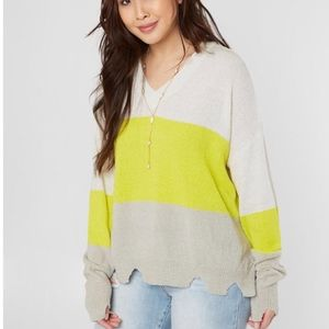 NWT Le Lis Striped Distressed Sweater Size Small